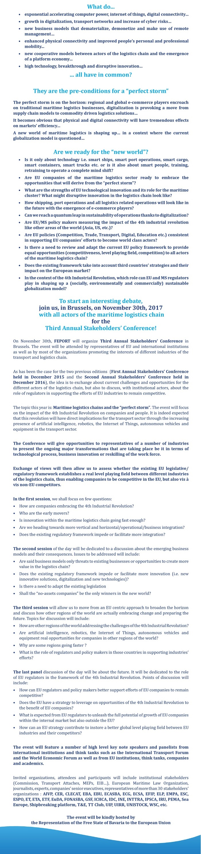 Web description Third Annual Stakeholders Connference Brussels November 30th 2017 v.26.09.2017just description